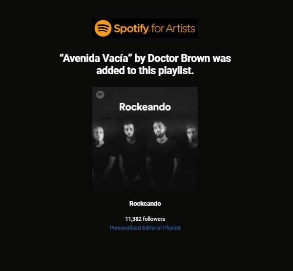 Avenida Vacia en Rockeando, playlist de Spotify